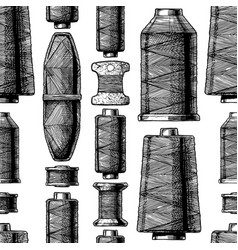 Pattern with sewing thread bobbins vector