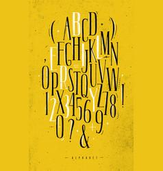 Alphabet gothic font yellow vector