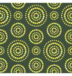 Dots circles seamless pattern on green vector