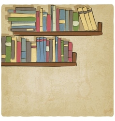Hand drawing bookshelf old background vector