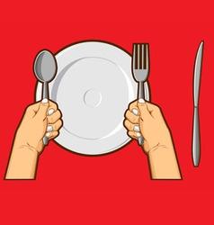 Hands holding spoon fork knife vector