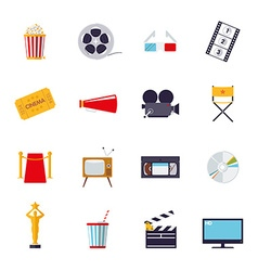 Movie and cinema isolated icons set vector