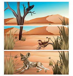 Wild animals living in dessert vector