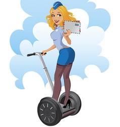 post-girl on the segway vector image