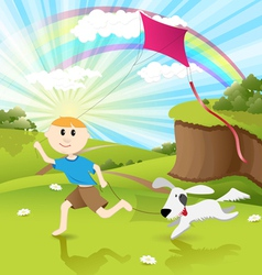 Boy and dog vector