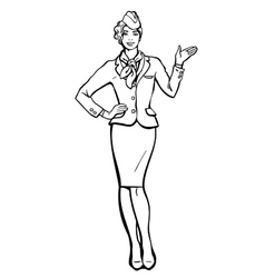 Stewardess in blue suit indicates information vector