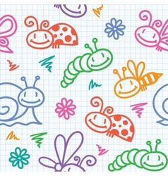 Hand drawn pattern with insects vector