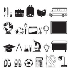 School supplies icons set monochrome vector