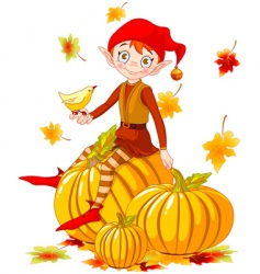 pumpkin elf vector image