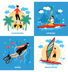 Water sport concept icons set vector