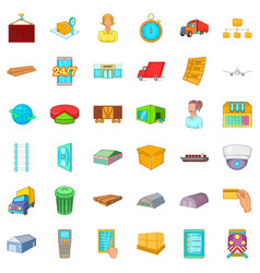 Big warehouse icons set cartoon style vector