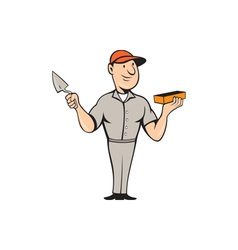 Bricklayer mason plasterer standing cartoon vector