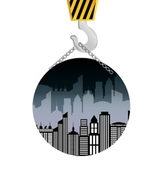 Building construction crane hanging badge vector
