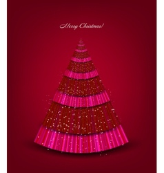Christmas red background with tree vector image vector image