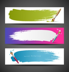 Colorful Paint brush banners background set vector image