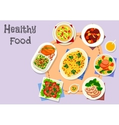 Diet menu icon with vegetable and meat dishes vector
