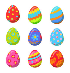 Easter egg with colorful bright ornamental design vector