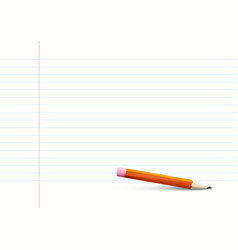 empty lined notebook paper a4 size with pencil vector image vector image