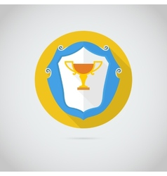 Flat icon with golden cup vector image vector image