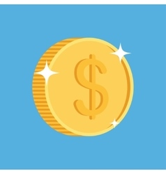 gold coin icon with dollar symbol vector image
