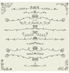 hand drawn calligraphic design elements vector image vector image