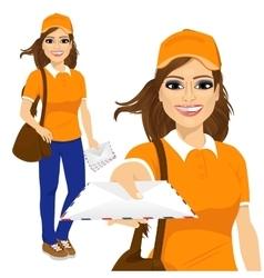 Hispanic post woman in orange uniform vector