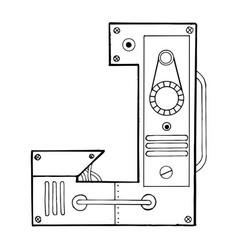 mechanical letter j engraving vector image vector image