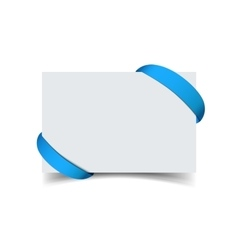 Paper greeting card with curved blue gift ribbon vector image