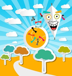 Paper Kite on Sky with Clouds and Rural Autumn vector image