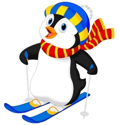 Penguin cartoon skiing vector image