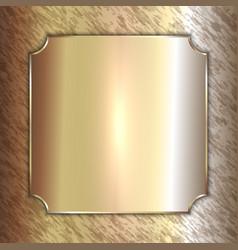 Precious metal golden plate on patina vector