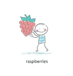 Raspberries and people vector image vector image