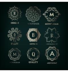 Set of luxury simple and elegant silver monogram vector