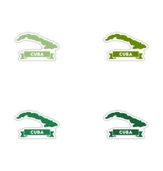 Set of paper stickers on white background map of vector image