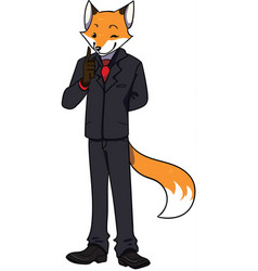 Sly business fox in a black suit vector