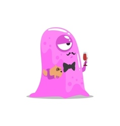 Snobbish pink blob jelly moster with moustache and vector