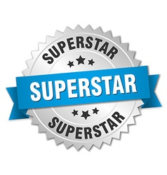 Superstar 3d silver badge with blue ribbon vector