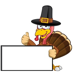 Turkey Mascot Holding A Blank Sign vector image vector image
