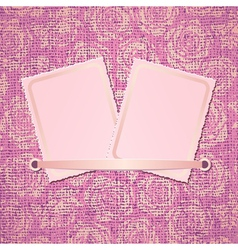 Two photo card on pink fabric background vector image vector image