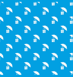 umbrella and a cardboard box pattern seamless blue vector image vector image