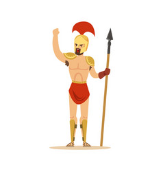 Warrior character naked man in a helmet and a vector