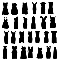 Set of dresses silhouette isolated on white vector image