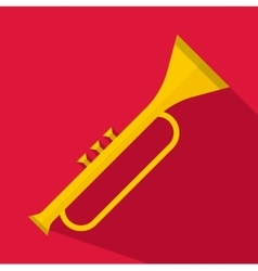 Trumpet icon flat style vector