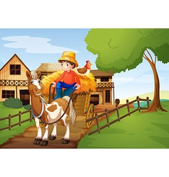 A farmer riding in a carriage with a chicken at vector