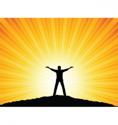 silhouette man with arms raised vector image