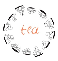 Tea cups frame funny banner vector image