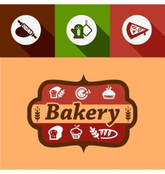 Flat bakery design elements vector
