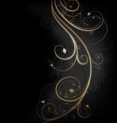 floral golden wave vector image