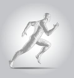 3d polygonal human body sprinter running figure vector