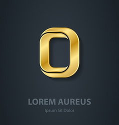Letter o elegant gold font template for company vector
